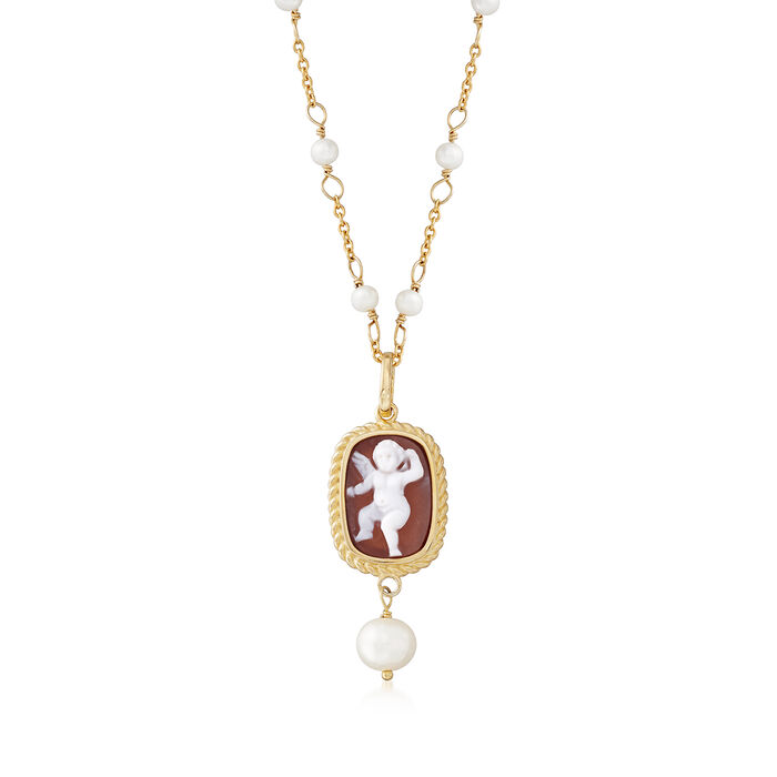 """Italian Cultured Pearl Angel Shell Cameo Station Necklace in 18kt Gold Over Sterling. 18"""", , default"""