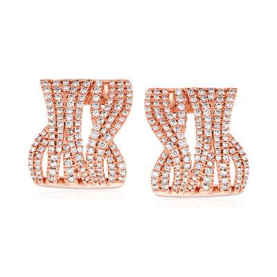1.20 ct. t.w. Diamond Highway Earrings in 14kt Rose Gold, , default