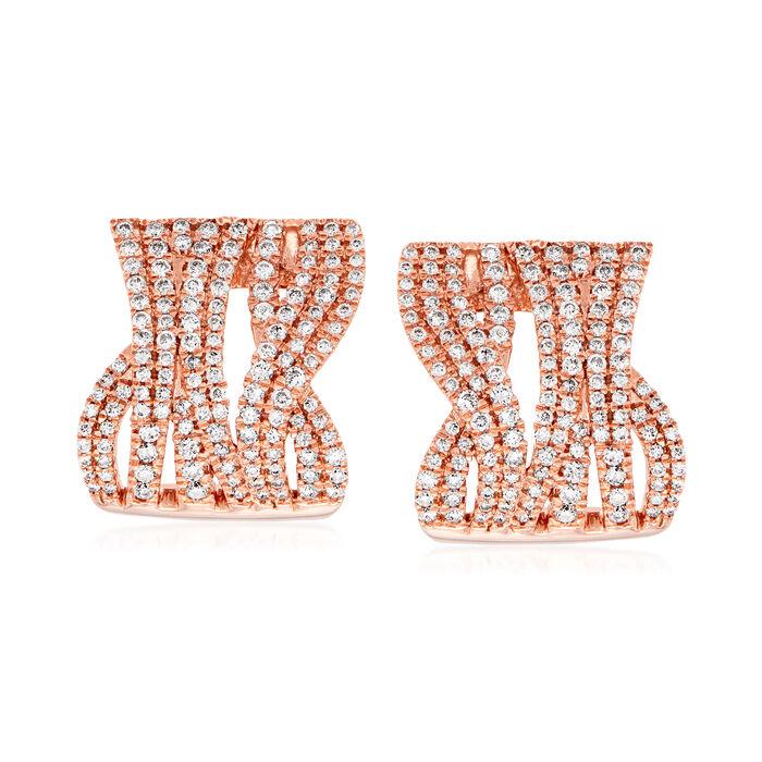 1.20 ct. t.w. Diamond Highway Earrings in 14kt Rose Gold