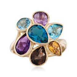 5.10 ct. t.w. Mixed Gem Cluster Ring in 14kt Yellow Gold, , default
