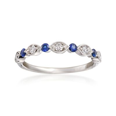 Henri Daussi .20 ct. t.w. Sapphire and .15 ct. t.w. Diamond Wedding Ring in 14kt White Gold, , default