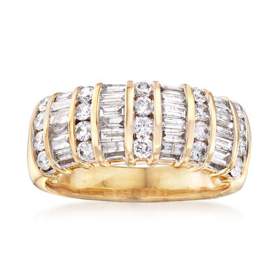 1.00 ct. t.w. Baguette and Round Diamond Ring in 14kt Yellow Gold  , , default