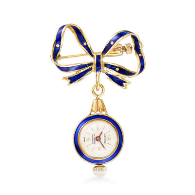 C. 1940 Vintage 10kt Yellow Gold and Blue Enamel Watch Pin, , default