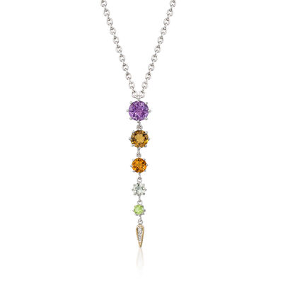 "Andrea Candela ""Fugaz"" 4.40 ct. t.w. Multi-Gemstone and Diamond Drop Necklace in 18kt Gold and Sterling, , default"