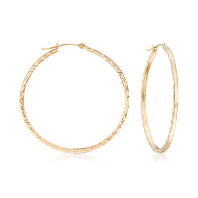 Diamond-Cut Hoop Earrings in 14kt Yellow Gold, , default