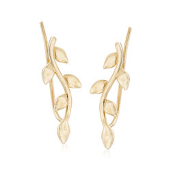 14kt Yellow Gold Leaf Ear Climbers, , default