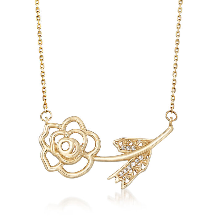 "14kt Yellow Gold Single Rose Necklace with CZ Accents. 18"", , default"