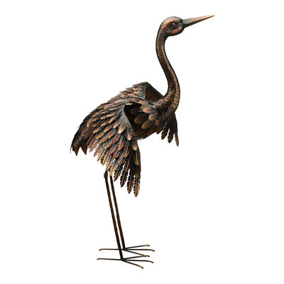 Regal Bronze Wings Out Crane Outdoor Statue, , default