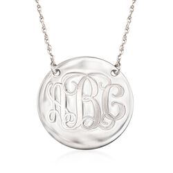Sterling Silver Script Monogram Disc Necklace, , default