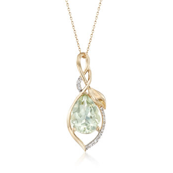 "7.00 Carat Green Amethyst and .10 ct. t.w. White Topaz Pendant Necklace in 14kt Gold Over Sterling. 18"", , default"