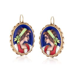 C. 1950 Vintage 21x14mm 14kt Yellow Gold and Multicolored Enamel in 14kt Yellow Gold , , default