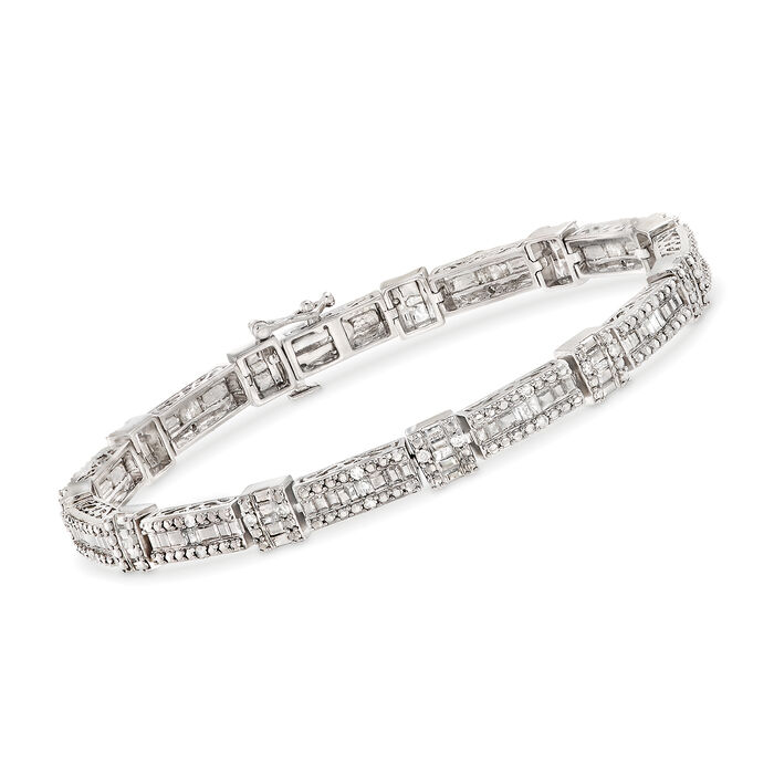 1.00 ct. t.w. Baguette and Round Diamond Bracelet in Sterling Silver