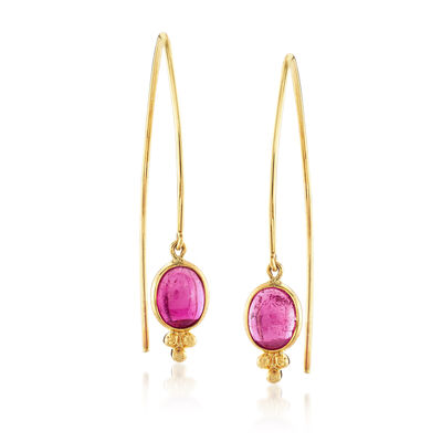 Mazza 4.80 ct. t.w. Pink Tourmaline Drop Earrings in 14kt Yellow Gold, , default