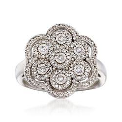 .33 ct. t.w. Diamond Floral Ring in Sterling Silver, , default