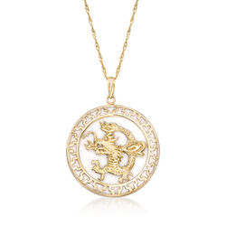 White Agate Dragon Pendant Necklace in 14kt Yellow Gold , , default