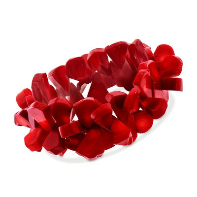 Red Coral Baroque Bead Stretch Bracelet, , default