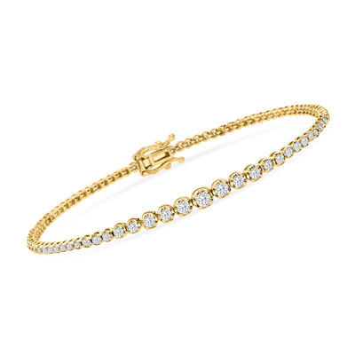 1.50 ct. t.w. Diamond Graduated Bracelet in 14kt Yellow Gold