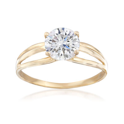 1.25 Carat CZ Triple-Row Solitaire Ring in 14kt Yellow Gold, , default