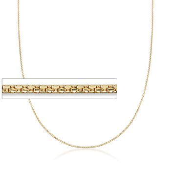 1mm 14kt Yellow Gold Adjustable Popcorn Chain Necklace, , default