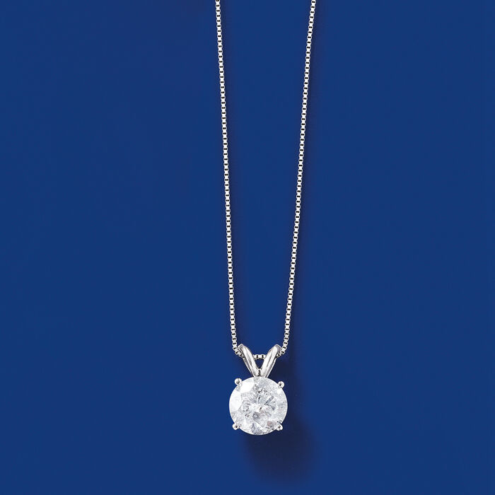 1.20 Carat Diamond Solitaire Necklace in 14kt White Gold