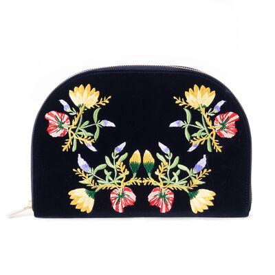 Indigo Velvet Floral Jewelry Travel Case, , default