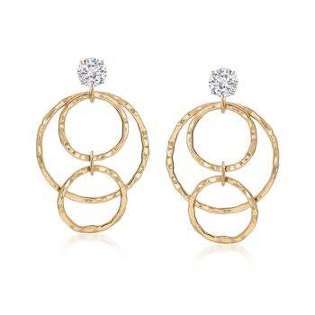 14kt Yellow Gold Hammered Multi-Circle Drop Earring Jackets , , default