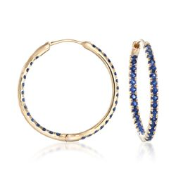 "1.20 ct. t.w. Sapphire Inside-Outside Hoop Earrings in 14kt Yellow Gold. 7/8"", , default"