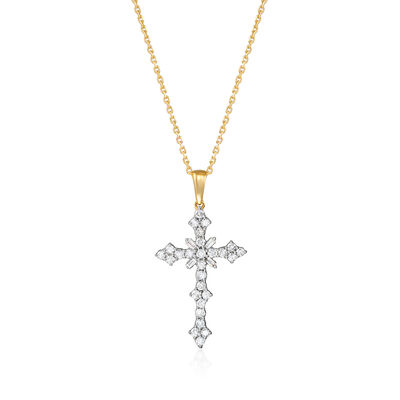 .50 ct. t.w. Diamond Cross Pendant Necklace in 18kt Gold Over Sterling