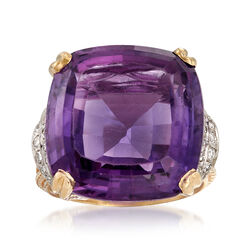 C. 1980 Vintage 25.50 Carat Amethyst and .50 ct. t.w. Diamond Ring in 14kt Yellow Gold, , default
