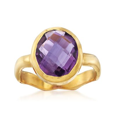4.50 Carat Amethyst Ring in 18kt Gold Over Sterling, , default
