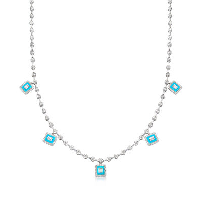 1.15 ct. t.w. Diamond Station Drop Necklace with Turquoise Enamel in 18kt White Gold
