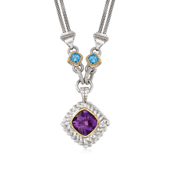 6.25 ct. Amethyst and 5.00 ct. t.w. Blue Topaz Double Strand Necklace in Sterling Silver and 14kt Yellow Gold, , default