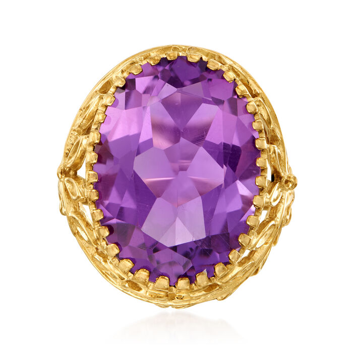 C. 1970 Vintage 10.00 Carat Amethyst Floral Ring in 10kt and 14kt Yellow Gold. Size 5.75, , default
