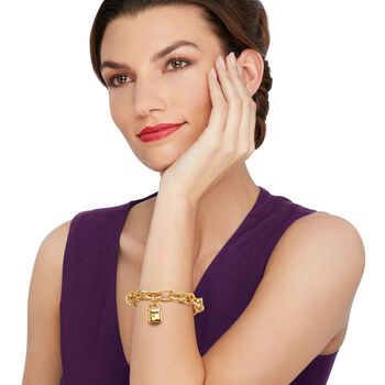 "Italian Andiamo 14kt Yellow Gold Charm Bracelet. 7"", , default"