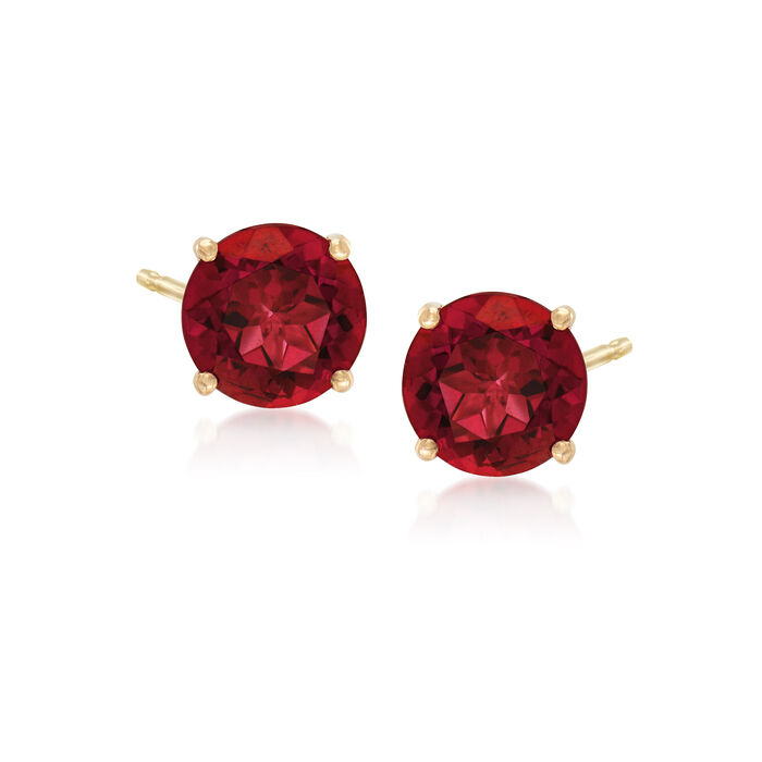 3.00 ct. t.w. Red Peony Topaz Post Earrings in 14kt Yellow Gold
