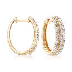 .90 ct. t.w. Diamond Hoop Earrings in 14kt Yellow Gold, , default