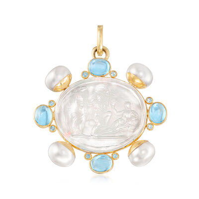 Mazza Mother-Of-Pearl Doublet and 15.00 ct. t.w. Blue Topaz with 12mm Cultured Pearl Pendant in 14kt Yellow Gold, , default