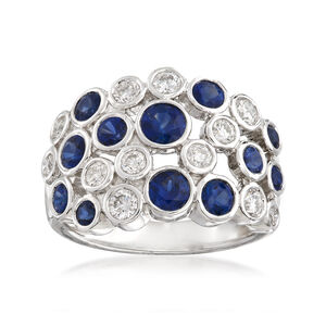 Gregg Ruth 1.77 ct. t.w. Sapphire and .74 ct. t.w. Diamond Bubble Bezel-Set Ring in 18kt White Gold #910644