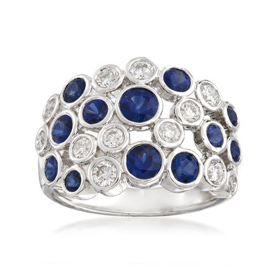 Gregg Ruth 1.77 ct. t.w. Sapphire and .74 ct. t.w. Diamond Bubble Bezel-Set Ring in 18kt White Gold