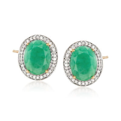 3.10 ct. t.w. Oval Emerald and .19 ct. t.w. Diamond Earrings in 14kt Yellow Gold , , default