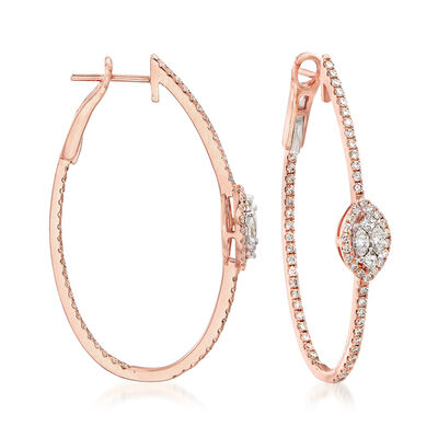 1.46 ct. t.w. Diamond Inside-Outside Hoop Earrings in 14kt Rose Gold, , default
