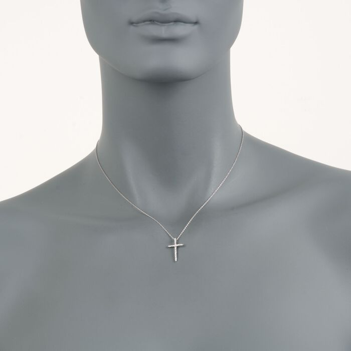 """Roberto Coin .10 ct. t.w. Diamond Cross Necklace in 18kt White Gold. 16"""", , default"""