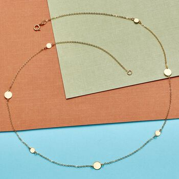 """Italian 14kt Yellow Gold Disc Station Necklace. 20"""", , default"""