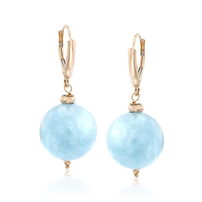 6mm Milky Aquamarine Bead Earrings in 14kt Yellow Gold, , default