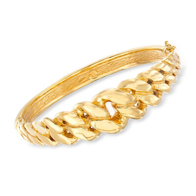 Italian 14kt Yellow Gold Cuban-Link Bangle Bracelet, , default