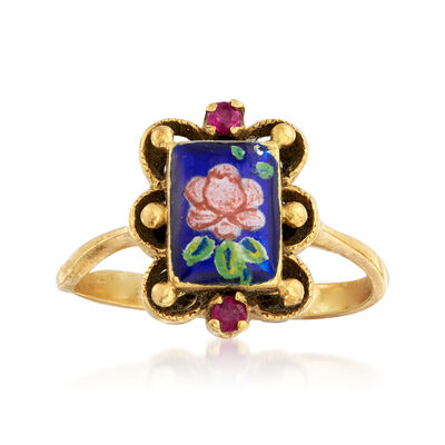 C. 1950 Vintage Painted Enamel Flower Ring with Ruby Accents in 14kt Yellow Gold, , default