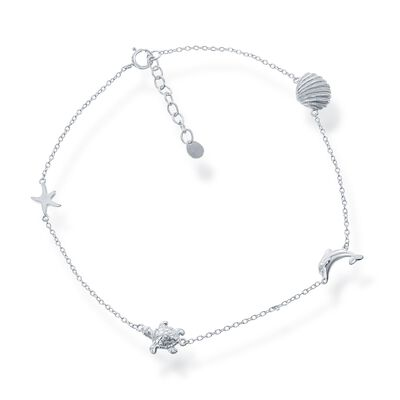 Sterling Silver Sealife Anklet