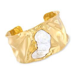 Cultured Baroque Pearl Hammered Cuff Bracelet in 18kt Gold Over Sterling, , default