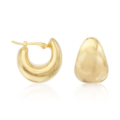14kt Yellow Gold Small Wide Hoop Earrings, , default