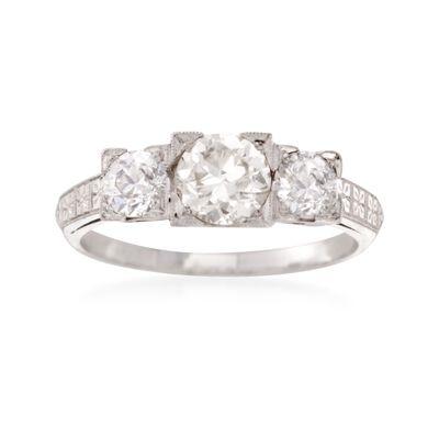C. 1960 Vintage 1.40 ct. t.w. Diamond Three-Stone Engagement Ring in Platinum, , default